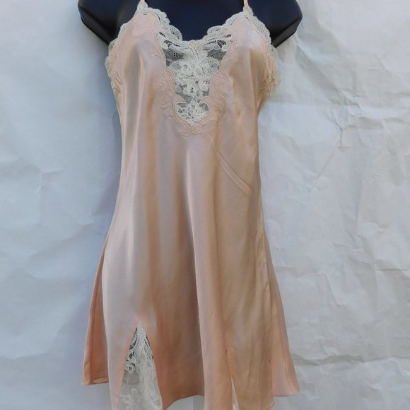 Vintage Nineties Ivory Satin Teddy with Lace Trim  from Victorias Secret Size L   Lingerie